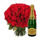bouquet de roses rouges et champagne
