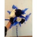 bouquet rond roses bleues